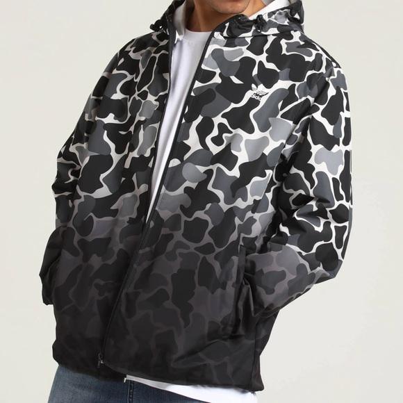 Men's Adidas Camouflage Dip-Dyed Windbreaker Jacket Black White Size Small